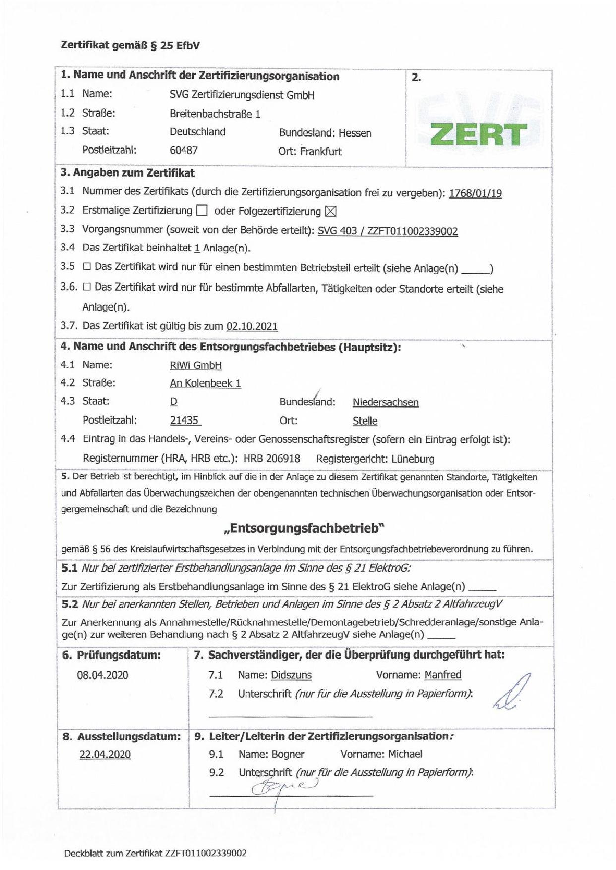 Zertfikat gemäß §25 EfbV Seite 1